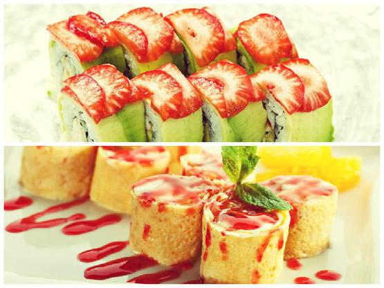 Фруктовые суши и роллы на десерт